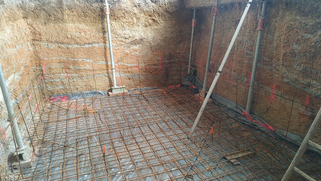 Chantier construction cave ventilée